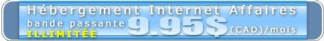 Hébergement Internet Affaires à partir de 9.95 $ (CAD) / mois. Bande passante illimitée.